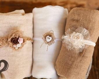 6 item set~3 swaddles w Cute headties 1 Yard Long Neutrals Sets Head ties 100% Cotton Gauze Swaddle Newborn Photo Prop Wraps/ Newborn Wrap