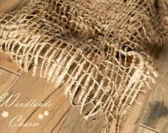 Rustic Woven Jute Burlap Layering Net for Baskets Newborn Prop Jute Netting Layering Piece Woodlands Rustic TextureNautical Prop Rope Layer
