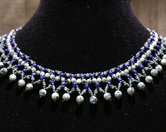 Czech Glass beaded collar necklace in blues and greens.