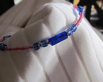 Cobalt Blue, Silver Lined Sapphire and Pink Lined Crystal Glass Bead Bracelet