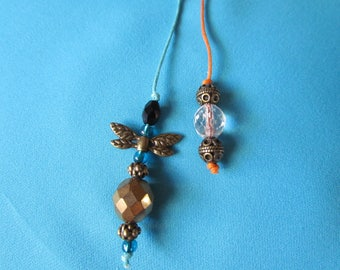 Wings - Bronze and Teal Blue Green Beaded Bookmarks 8485