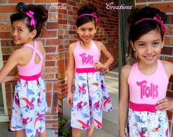 Girls Pink TROLLS Dress, Girls Dress, Poppy, Guy Diamond, Cooper, Pass the Glitter, Aurora Dress, LIMITED  - Available 2y - 12y