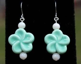 Teal and White Ceramic Plumeria Flower Earrings