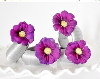 Modern Napkin Rings Floral Plum Wedding Table Settings Purple Flowers w/Silver Ribbon for Fall, Spring Entertaining and Parties. Set of 4