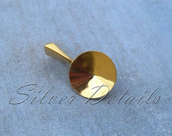 Gold Vermeil over Sterling Silver Bail 925 for Pendant for Swarovski Crystals Rivoli 12mm Finding reference code B68Y