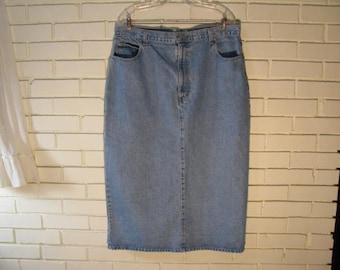 Vtg jean midi/maxi skirt waist size 38''