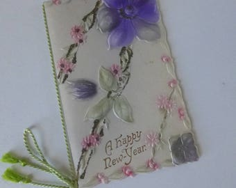 Victorian Card Booklet New Years Beautiful Embossed with tassel  Floral Design with inscription