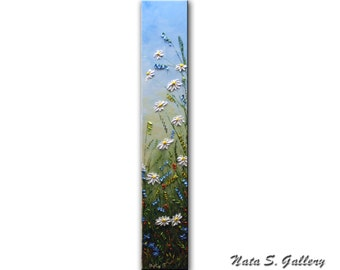 "Daisy Art Original Painting Wildflower Field Abstract Daisy Floral Textured Artwork Interior Decor Vertical Art Painting 36"" x 6"" by Nata S."