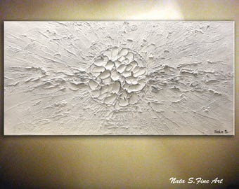 Abstract White Painting, Contemporary Painting on Canvas, Heavy Textured Artwork, Wall Hanging, Home & Office Decor,Large Artwork by Nata S.