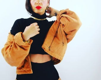 1990s marigold quilted bomber jacket small - medium