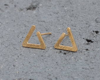 Gold Triangle Earrings , Golden Post Earrings , Minimal Earrings , Geometric Earrings , Modern Earrings, Open Triangle Studs ,Triangle Posts