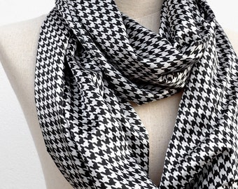 Houndstooth Scarf, Black and White Scarf, Silky Satin Scarf, Houndstooth Infinity Scarf, Loop Circle Scarf