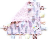 Feathers - Pink Gray - Baby girl lovey tag sensory blanket toy pink minky personalized embroidered - woodland