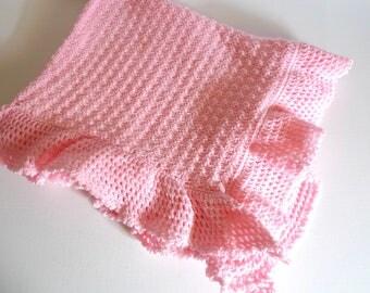 "Vintage Pink Crocheted Baby Blanket 30 x 40"""