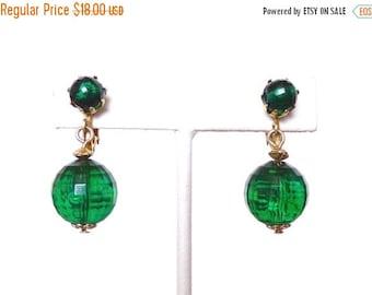 Sale 30% OFF Emerald Green Drop Earrings Dangle Plastic Bead Hong Kong Christmas