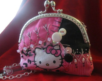 Hello Kitty Handmade Crazy Quilted Shoulder Purse OOAK Hand Stitched Art Bag Doily Lace Swarovski Crystals Glass Beads Vintage Buttons