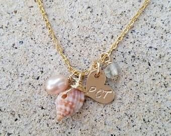 Dainty Beach Charm Necklace - beach jewelry, shell jewelry, hawaii jewelry, hawaii, kauai