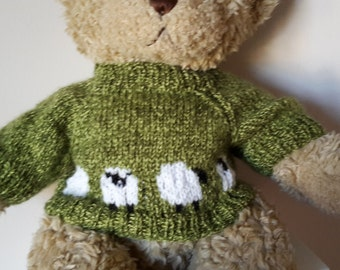 Teddy Bear Sweater - Hand knitted - Green with Row of Sheep - fits Build a Bear