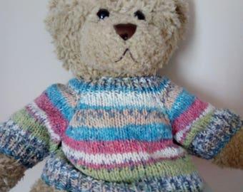 Teddy Bear Sweater - Hand knitted - Multi Coloured Stripes Fair Isle effect - fits Build a Bear