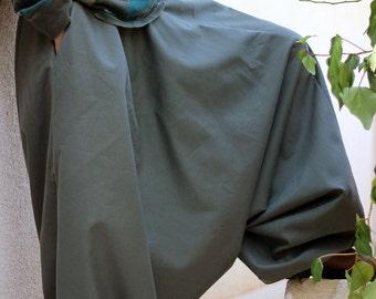 Drop Crotch Harem Pants for Men with deep side pockets - Green Khaki Wide leg Aladdin pants - Regular - Tall - Plus size - Custom made