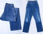 1950s Indigo Denim High Waisted Side Zip Denim Blue Bell Misses Womens Ranch Jeans