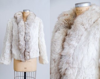 70s Rabbit Fur Coat Disco Bohemian Light Fur Fluffy Disco Jacket