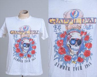 1988 Grateful Dead Sunglasses Dead Skull Summer - Fall Tour Hippie T Shirt
