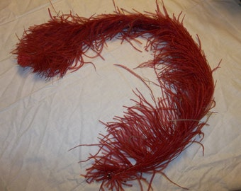 """Antique Ostrich Feather Plume...Red...Huge 36""""..Good Condition"""