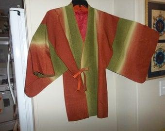 Vintage Japanese Silk Wedding Kimono..Brown Khaki Stripe..New Old Stock..1970Era..Perfect Condition