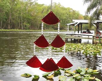 Glass Suncatcher Wind Chime, Red Stained Glass Chimes, Glass Windchime, Glass Yard Art, Garden Decor, Original Home Decor, Window Treatment