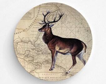 Christmas Deer Melamine Plate, Map Melamine Plate, Christmas Deer, decorative plate, Dinner Plate, Serving Plate