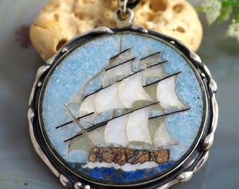 Mosaic Pendant Brigantine Statement Necklace Sterling Silver Jewelry
