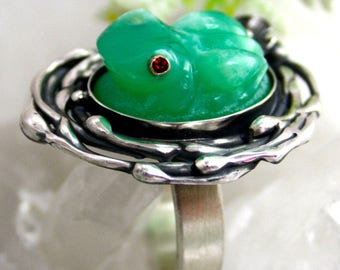 Frog Ring Chrysoprase Ring Size 7.75 Sterling Silver Jewelry