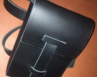 Widowmaker Double Strap Leg Bag, Black Leather