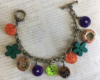 Vintage Inspired Antique Industrial Coloful Buttons Beads Flower Charm Bracelet