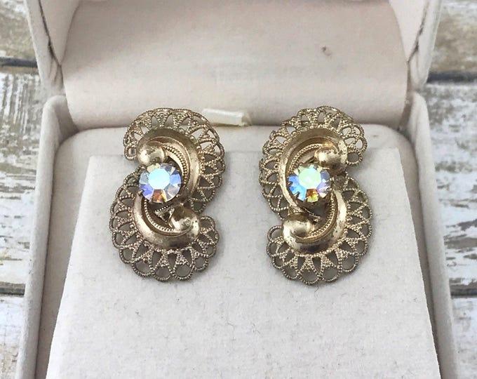 SPRING (SALE 50%) Austrian Filigree Earrings and aurora borealis  Rhinestone Earrings, Gold Tone Filigree AB Rhinestone Earrings. Vintage Fi