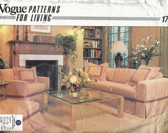 Vogue Slipcover and Pillows Pattern, Tailored Slipcovers, Ruffled Romantic Slipcovers, Home Sewing Pattern, 1980s Vogue Patterns for Living