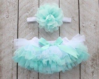 Baby Girl Ruffle Bottom Tutu Bloomer & Headband Set in Aqua Mint Ombre - Newborn Photo - Cake Smash - Diaper Cover - Gift - 1st Birthday