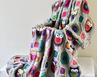 Afghan - Queen Size Owl Patchwork Blanket - Crochet Owl Blanket - Bright Multi with Light Grey Solid Throw