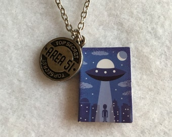 UFO Mini Book Charm and Area 51 Pendant Necklace - X Files - Christmas in July - Graduation - Summer - Xphile - Comicon - Truth is Out There