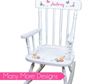 Childs Rocking Chair Personalized Childs Rockers Childrens Custom Large  White Spindle Rocker Nursery Furniture Wood Child
