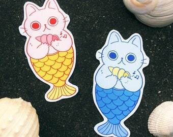 Purr-maid Sticker // Mermaid Cat, seashell, ocean, kitty, catfish, cute stationery, vinyl sticker, planner sticker, kawaii