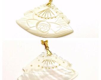 Vintage Carved SHELL Fan Pendant, floral figural, Clearance Sale,  Item No. B464