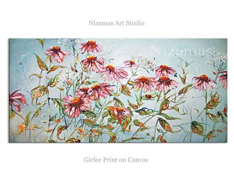 Floral Giclee print on canvas Prairie in Blooms home interior DecorPaula Nizamas Ready to hang