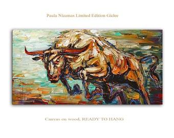 Art on canvas Bull print home interior Decor Paula Nizamas Ready to hang