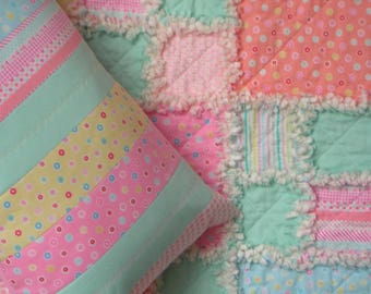 Handmade pillow, cushion. Pastel Minny Muu cute tiny cotton prints. Quilted strip patchwork.  Zip closure. Rag quilt available separately.
