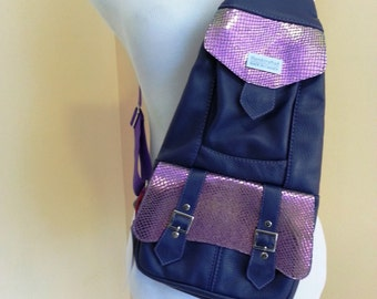 Leather sling backpack/frontpack - deep lavender with purple details/real leather/cross shoulder