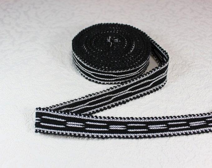 Woven Trim (6 yards), Woven Border, Cotton Ribbon, Grosgrain Ribbon, Dress Border, Border Trim, R151