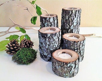 5 Wood tree branch candle holders, Wood candles, Rustic wedding candles, Centerpieces, Cabin decor, Rustic decor