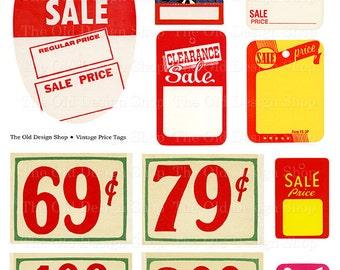 Printable Vintage Ephemera Department Store Grocery Store Price Tags Digital Collage Sheet JPG